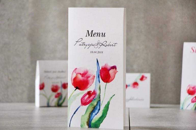 Menu weselne, ślub, stół weselny - Pistacjowe nr 5 - Czerwone akwarelowe tulipany