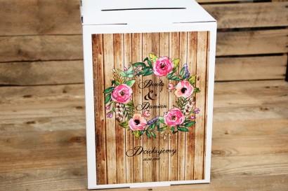 Pudełko na koperty - Rustykalne nr 1 - Różowe kwiaty na tle drewna - Dodatki i akcesoria ślubne