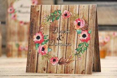 Zaproszenie ślubne, zaproszenia na ślub kwiatowe z motywem drewna - Rustykalne nr 2 - Różowe kwiaty