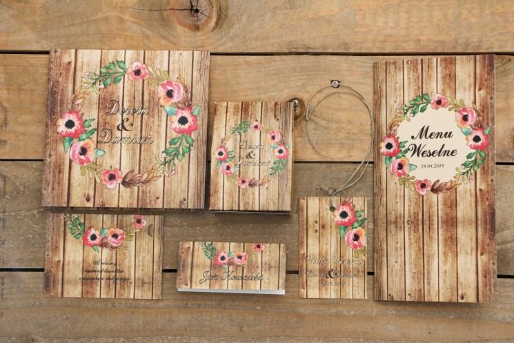 Zaproszenie ślubne z dodatkami - Rustykalne nr 2 - z motywem drewna i różowymi kwiatami