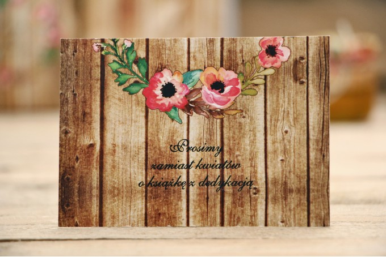 Bilecik do zaproszenia ślubnego, prezenty ślubne, weselne - Rustykalne nr 2 - Różowa eustoma z motywem drewna