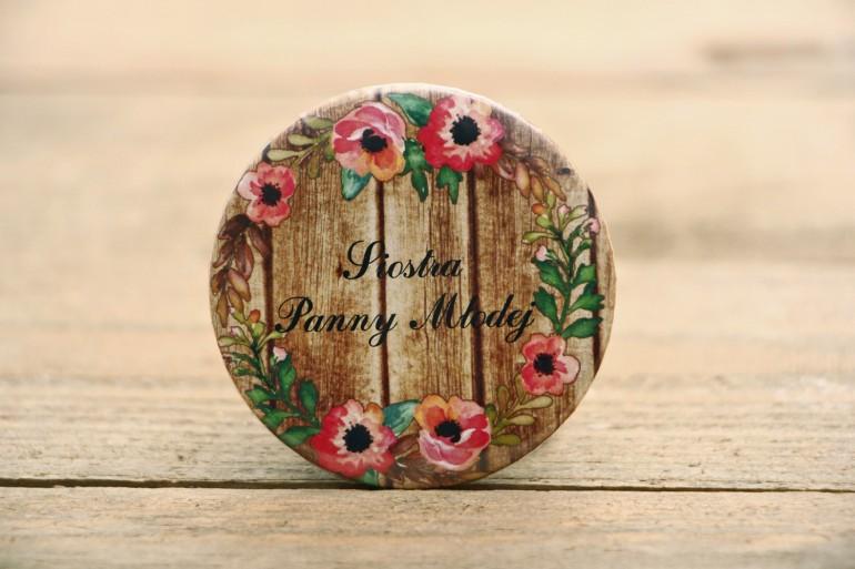 Przypinki dla Gości - Rustykalne nr 2 - Różowa eustoma - dodatki ślubne, weselne, podziękowania dla Gości