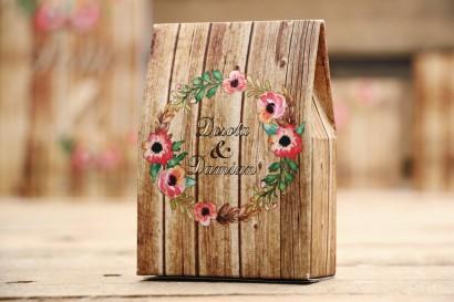 Pudełeczka na cukierki - Rustykalne nr 2 - Różowa eustoma - dodatki na stół weselny, podziękowania