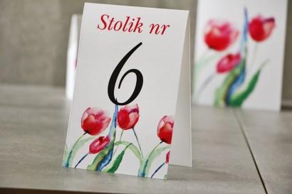 Numery stolików, stół weselny, Ślub - Pistacjowe nr 5 - Intensywnie czerwone tulipany