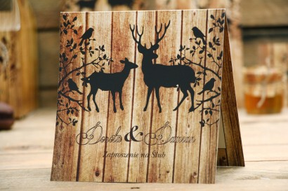 Zaproszenie ślubne, zaproszenia na ślub kwiatowe z motywem drewna - Rustykalne nr 3 - Jelenie