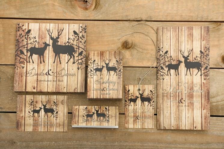 Zaproszenie ślubne z dodatkami - Rustykalne nr 3 - z motywem drewna i jeleniami