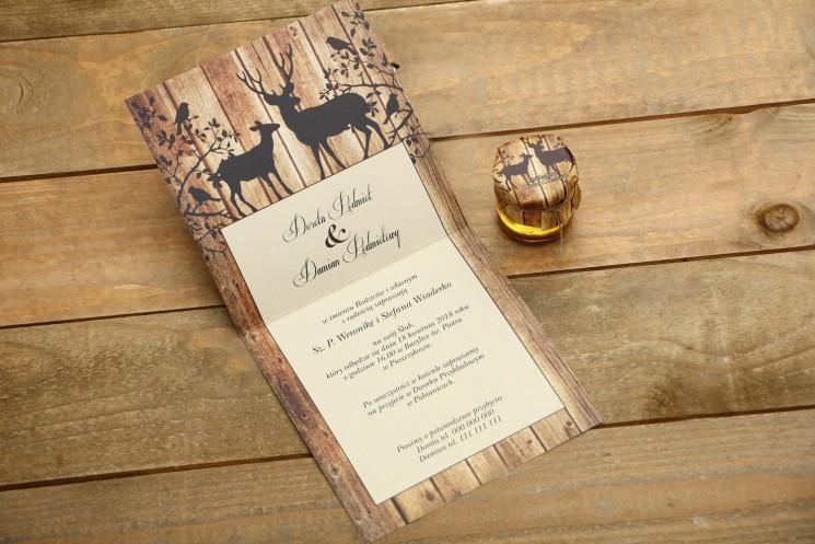 Zaproszenie ślubne, zaproszenia na ślub z motywem drewna - Rustykalne nr 3 - Jelenie - wnętrze zaproszenia
