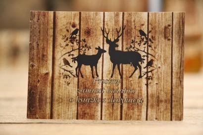 Bileciki do zaproszenia ślubnego - Rustykalne nr 3 - Motyw jeleni na tle drewna - prezenty ślubne, wesele