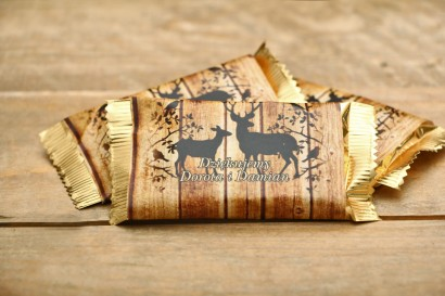 Czekoladki podziękowania - Rustykalne nr 3 - jelenie z motywem drewna - dodatki ślubne