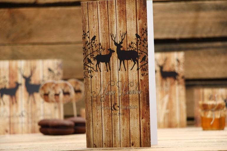 Menu weselne, stół weselny - Rustykalne nr 3 - Jelenie na tle motywu drewna - dodatki ślubne