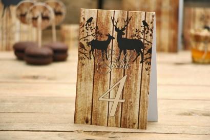 Numery stolików - Rustykalne nr 3 - Jelenie z motywem drewna - dodatki na stół weselny