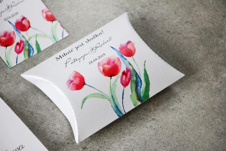 Pudełeczko poduszeczka na cukierki, podziękowania dla Gości weselnych - Pistacjowe nr 5 -  Czerwone tulipany