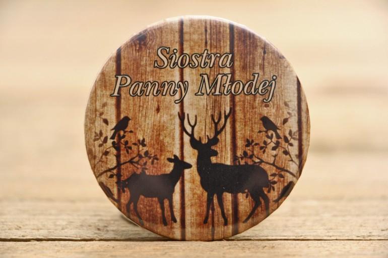 Przypinki dla Gości - Rustykalne nr 3 - Jelenie na tle drewna - dodatki ślubne, podziękowania