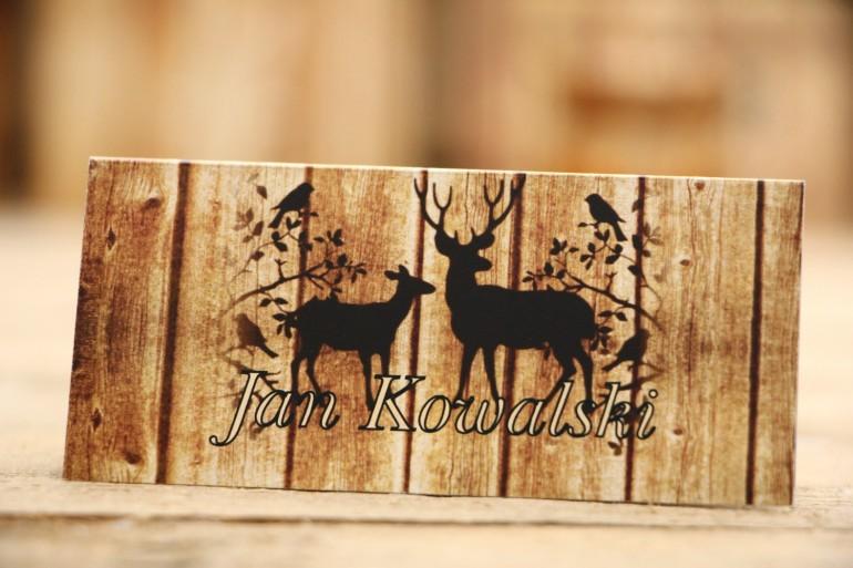 Winietki na stół weselny, ślub - Rustykalne nr 3 - Jelenie - dodatki ślubne z motywem drewna