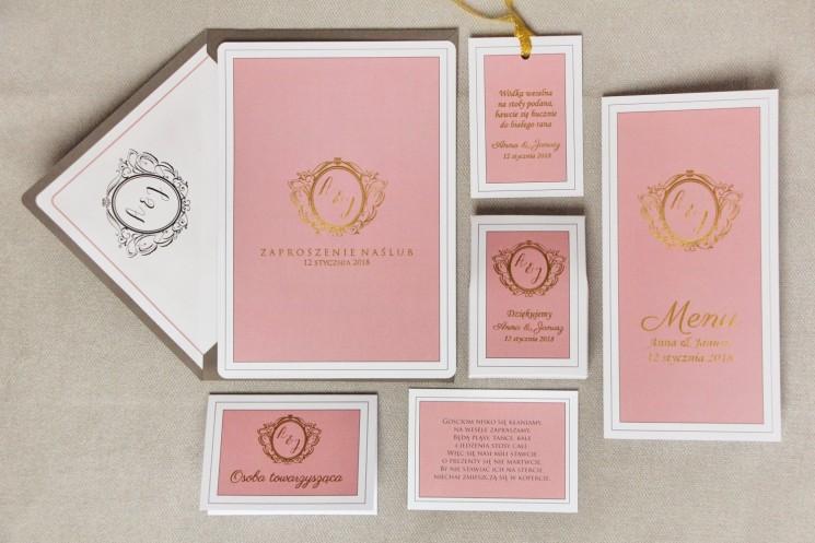 Zaproszenie ślubne z dodatkami - Sonata nr 2 - Róż i złoto - ze złoceniem