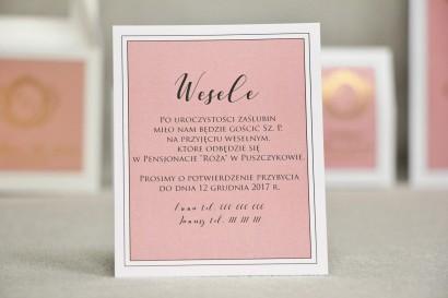 Bilecik do zaproszenia 120 x 98 mm prezenty ślubne wesele - Sonata nr 2 - Biel i róż