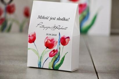 Pudełeczko stojące na cukierki, podziękowania dla Gości weselnych - Pistacjowe nr 5 - Czerwone wiosenne tulipany