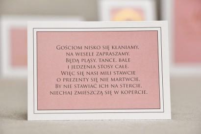Bilecik do zaproszenia 105 x 74 mm prezenty ślubne wesele - Sonata nr 2 - Róż i biel