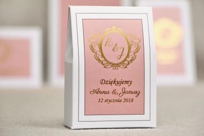 Pudełeczko stojące na cukierki, podziękowania dla Gości weselnych - Sonata nr 2 - Pudrowy róż i złoto