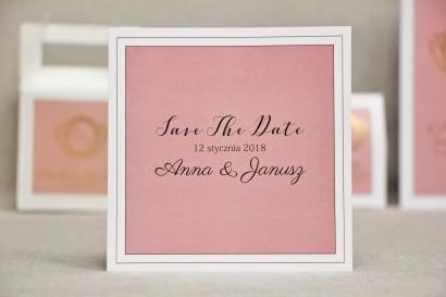 Bilecik Save The Date do zaproszenia ślubnego - Sonata nr 2 - Pudrowy róż i biel