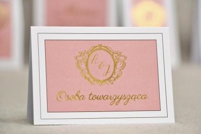 Winietki na stół weselny, ślub - Sonata nr 2 - Pudrowy róż i złoto - Eleganckie dodatki ślubne ze złoceniem