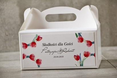 Prostokątne pudełko na ciasto, tort weselny, Ślub - Pistacjowe nr 5 - Intensywne czerwone tulipany