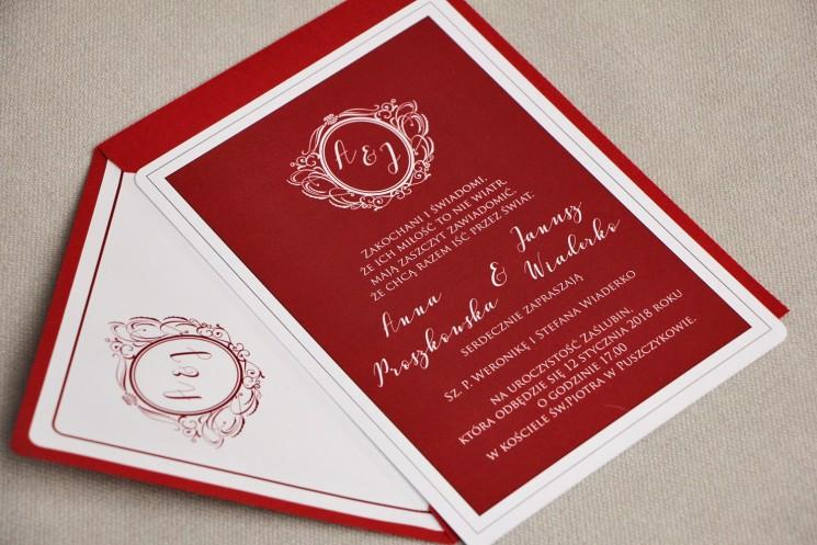 Zaproszenie ślubne, zaproszenia eleganckie ze złoceniem - Sonata nr 3 - Bordo ze złotem