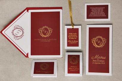 Zaproszenie ślubne z dodatkami - Sonata nr 3 - bordo, czerwień ze złotem - eleganckie złocenie