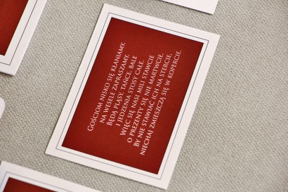 Bilecik do zaproszenia 105 x 74 mm prezenty ślubne wesele - Sonata nr 3 - Czerwień