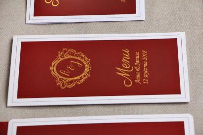 Menu weselne, stół weselny - Sonata nr 3 - Czerwień i złoto - dodatki ślubne ze złoceniem w stylu glamour
