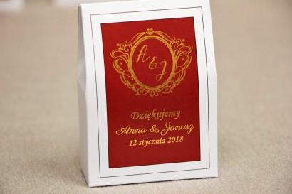 Pudełeczko stojące na cukierki, podziękowania dla Gości weselnych - Sonata nr 3 - Czerwień i złoto