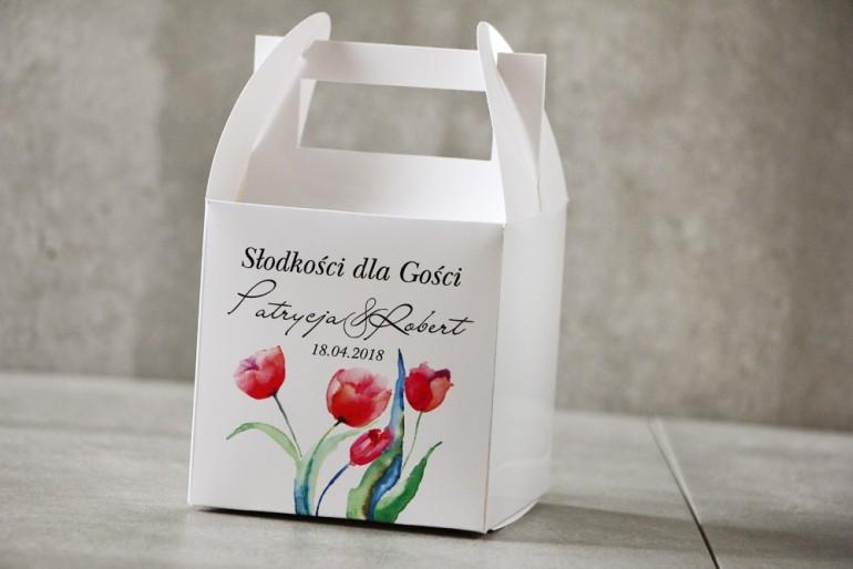 Pudełko na ciasto kwadratowe, tort weselny - Pistacjowe nr 5 - Czerwone wiosenne tulipany