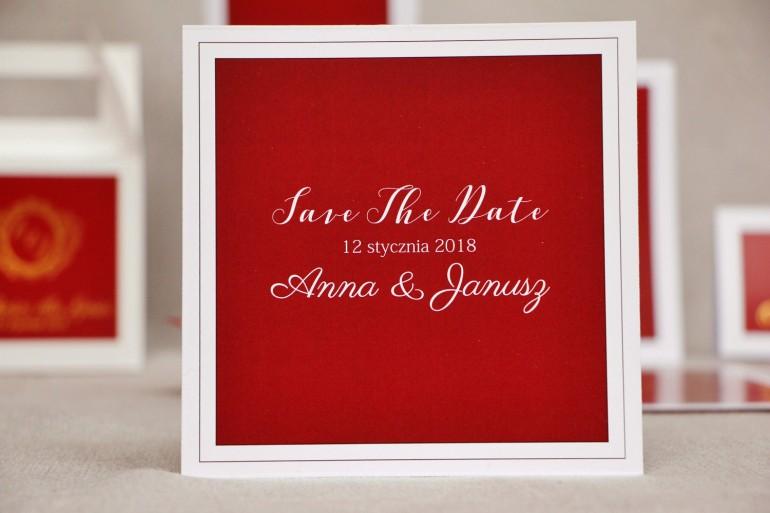 Bilecik Save The Date do zaproszenia Ślubnego - Sonata nr 3 - czerwień i biel
