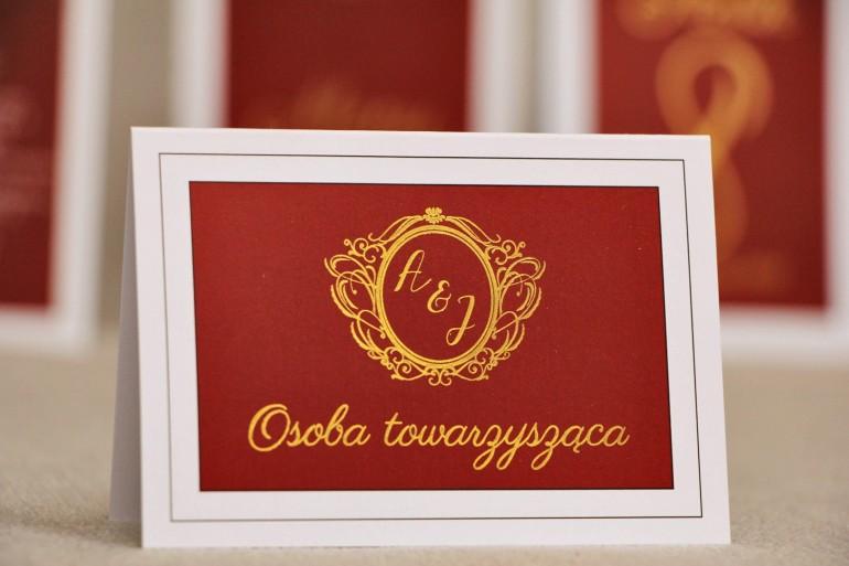 Winietki na stół weselny, ślub - Sonata nr 3 - Czerwień i złoto - Eleganckie dodatki ślubne ze złoceniem