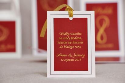 Zawieszka na butelkę, wódka weselna, ślub - Sonata nr 3 - Czerwień i złoto - dodatki ślubne ze złoceniem