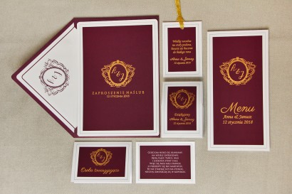 Zaproszenie ślubne z dodatkami - Sonata nr 6 - kolor wina ze złotem - ze złoceniem