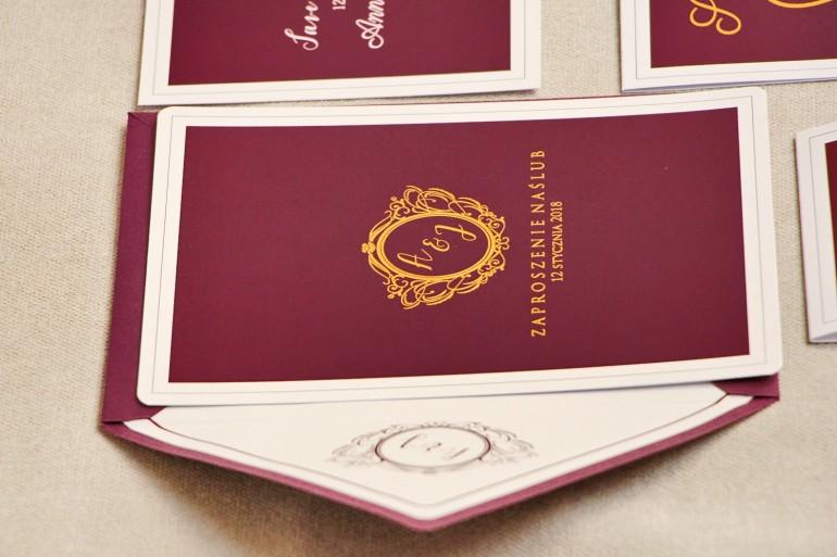 Zaproszenie ślubne, zaproszenia eleganckie ze złoceniem - Sonata nr 6 - Bordo ze złotem