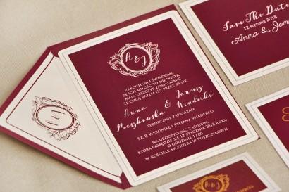Zaproszenie ślubne, zaproszenia eleganckie ze złoceniem - Sonata nr 6 -kolor wina ze złotem