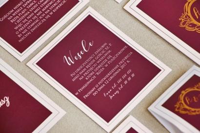 Bilecik do zaproszenia 120 x 98 mm prezenty ślubne wesele - Sonata nr 6 - Burgund i biel
