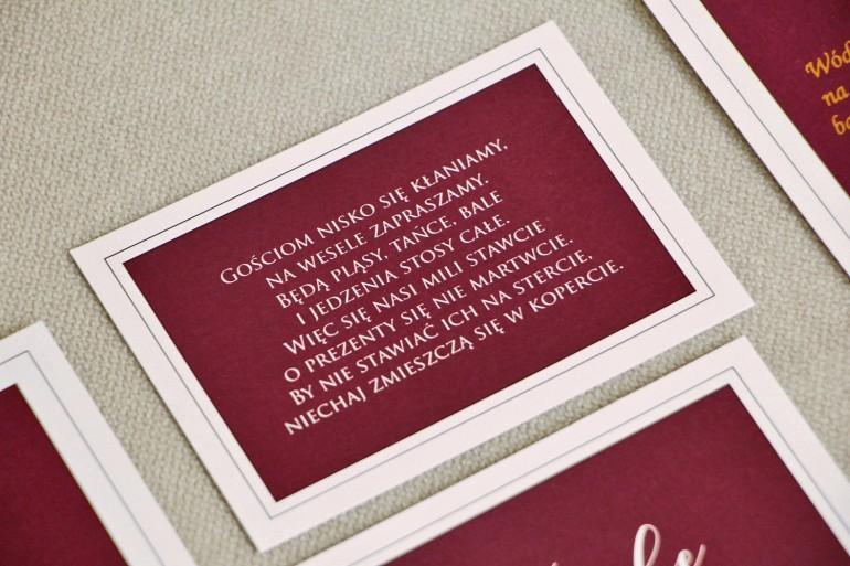 Bilecik do zaproszenia 105 x 74 mm prezenty ślubne wesele - Sonata nr 6 - Burgund i biel