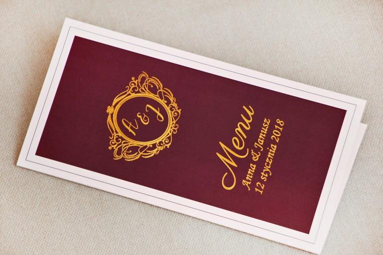 Menu weselne, stół weselny - Sonata nr 6 - Bordo i złoto - dodatki ślubne ze złoceniem