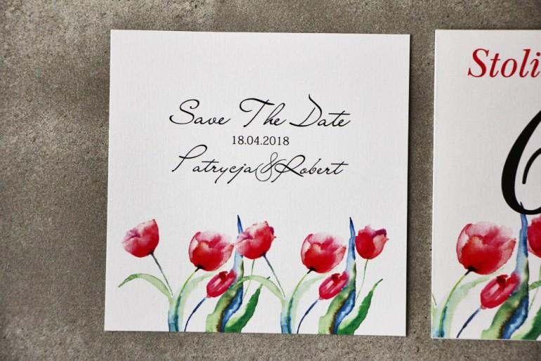 Bilecik Save The Date do zaproszenia - Pistacjowe nr 5 - Czerwone tulipany