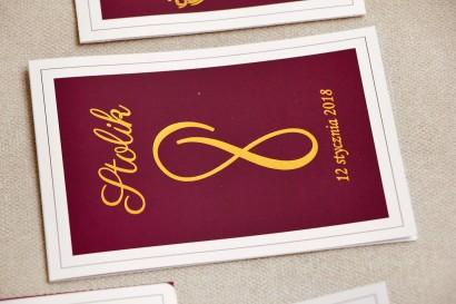 Numery stolików, stół weselny, ślub - Sonata nr 6 - Czerwone wino i złoto - dodatku ślubne ze złoceniem