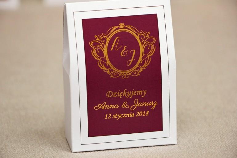 Pudełeczko stojące na cukierki, podziękowania dla Gości weselnych - Sonata nr 6 - Czerwone wino i złoto - dodatki ślubne
