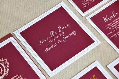 Bilecik Save The Date do zaproszenia ślubnego - Sonata nr 6 - Czerwone wino i biel