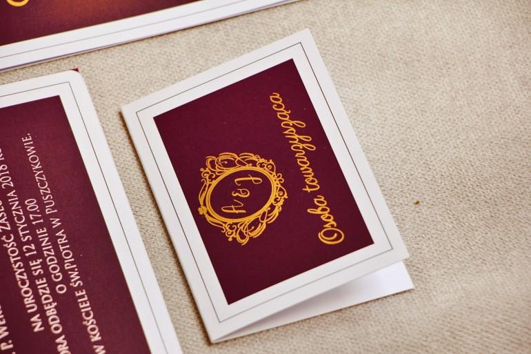 Winietki na stół weselny, ślub - Sonata nr 6 - Czerwone wino i złoto - Eleganckie dodatki ślubne ze złoceniem