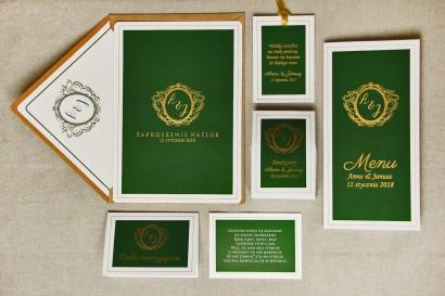 Zaproszenie ślubne, zaproszenia eleganckie ze złoceniem - Sonata nr 7 - Ciemna zieleń i złoto