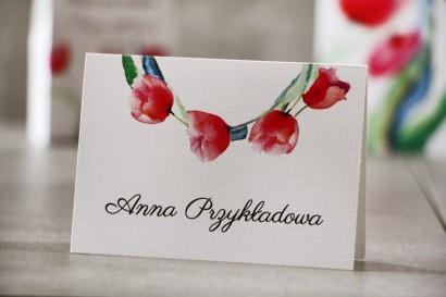 Winietki na stół weselny, ślub - Pistacjowe nr 5 - Wiosenne czerwone tulipany