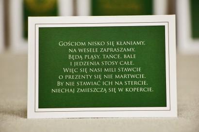 Bilecik do zaproszenia 105 x 74 mm prezenty ślubne wesele - Sonata nr 7 - ciemna zieleń i biel
