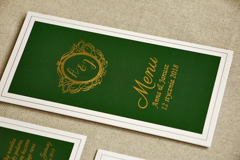 Menu weselne, stół weselny - Sorento nr 7 - Ciemna zieleń - dodatki ślubne ze złoceniem w stylu glamour
